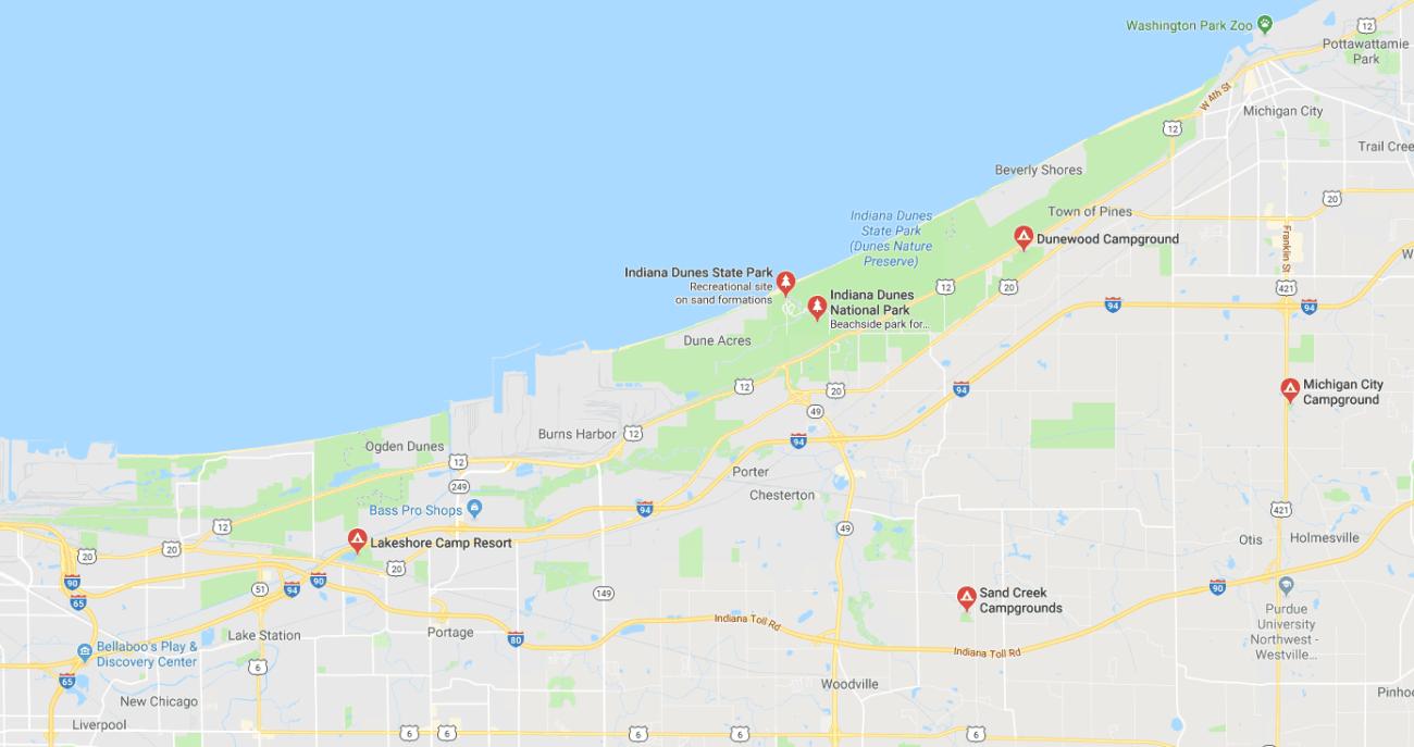 Indiana Dunes Campgrounds Map