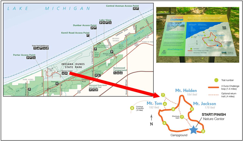 Indiana Dunes - Three Dunes Challenge Hike Map