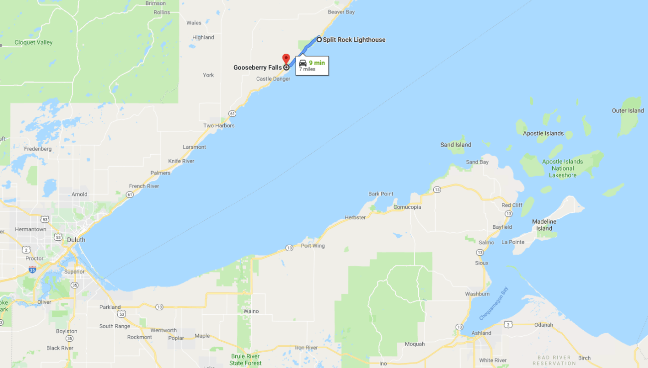 Split Rock Lighthouse and Gooseberry Falls Map