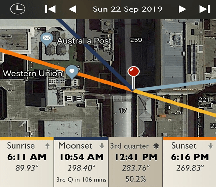 Centre Place - Sunrise and Sunset Detail Map