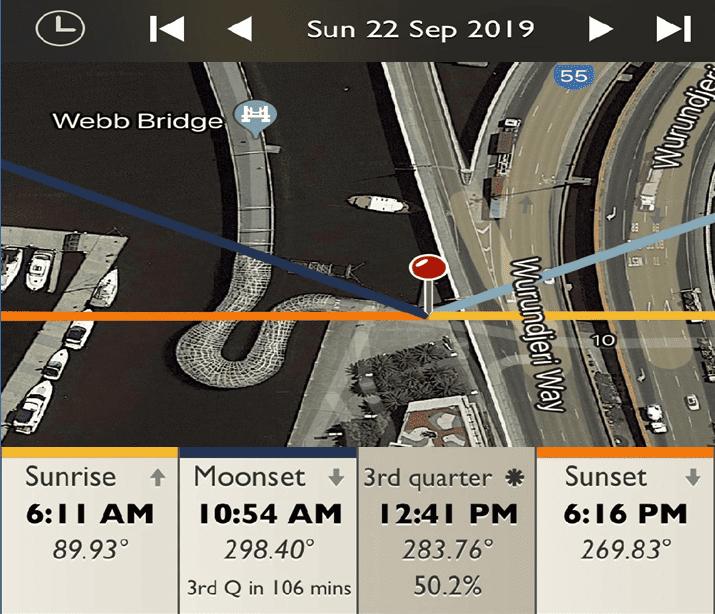 The Webb Bridge - Sunrise and Sunset Detail Map