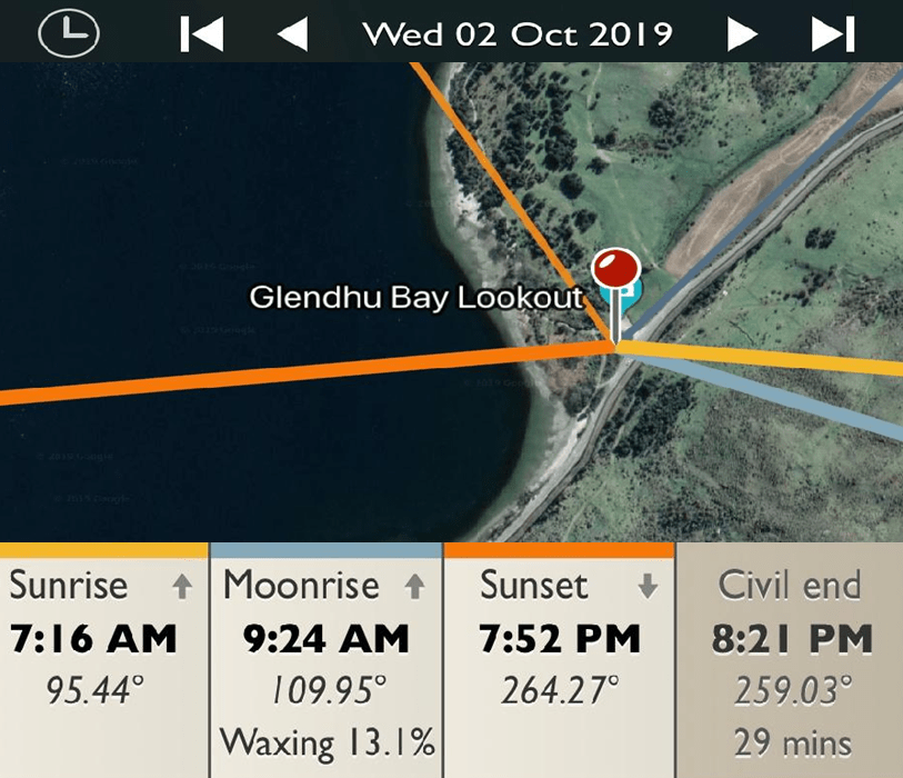 Glendhu Bay Lookout - Sunrise and Sunset Detail Map