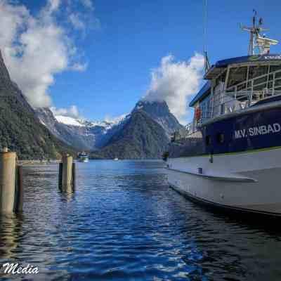 Boat Docked in Milford Sound