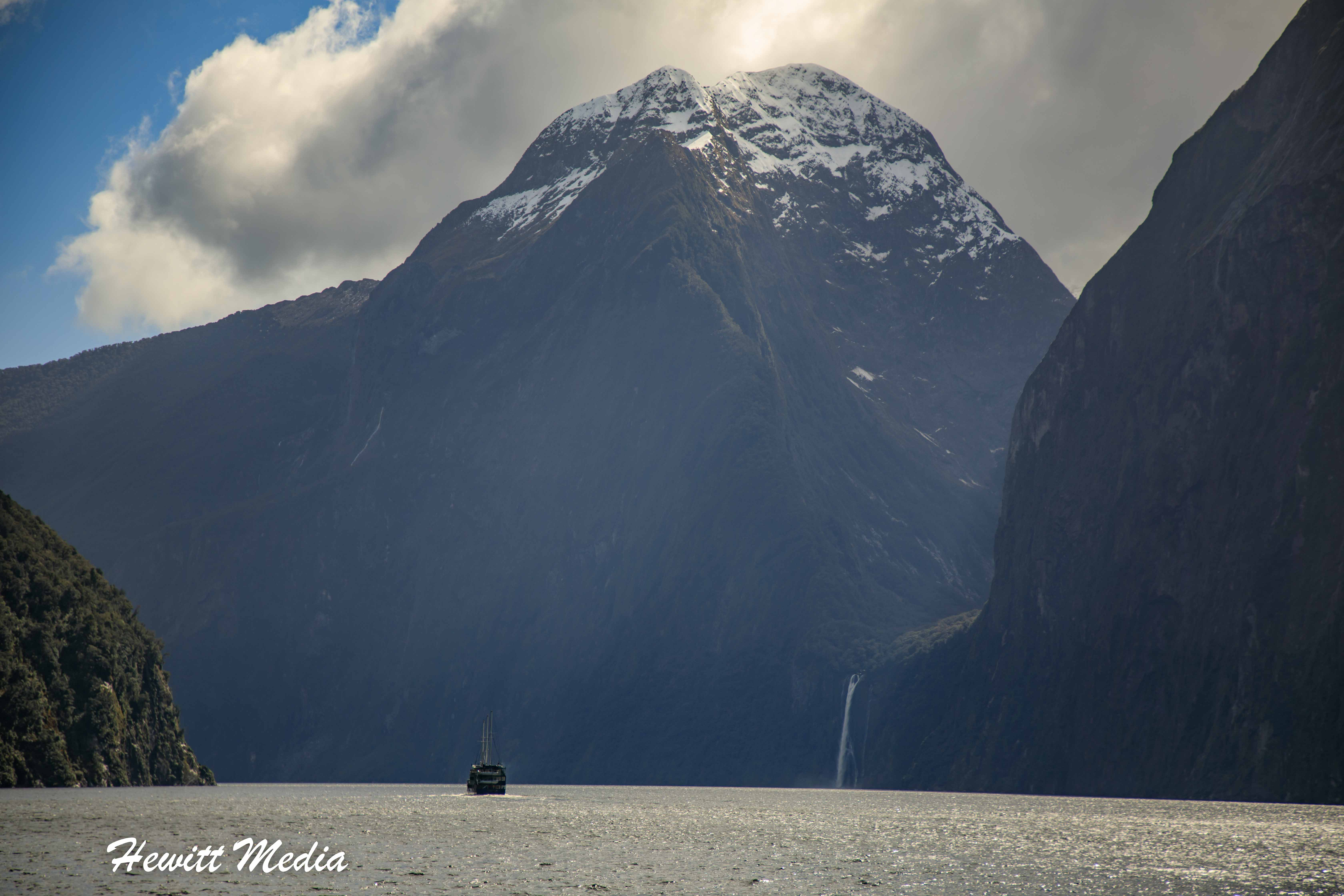 Boat in the Distance in Milford Sound
