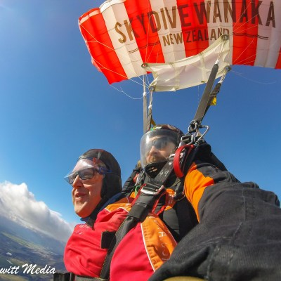 Parachuting back to earth after 60 seconds of free fall