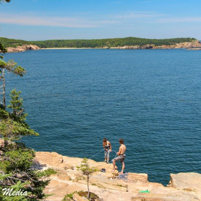 Rock Climbers at the Otter Cliffs