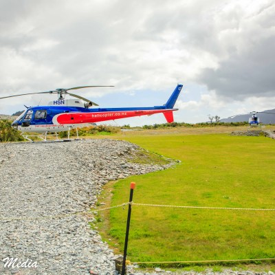 Franz Josef Glacier helicopter tour waiting to take off