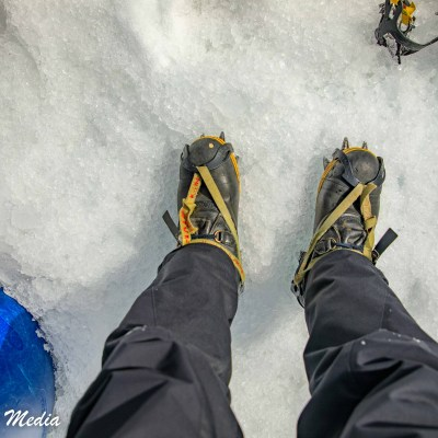 Got my crampons on for our glacier hike