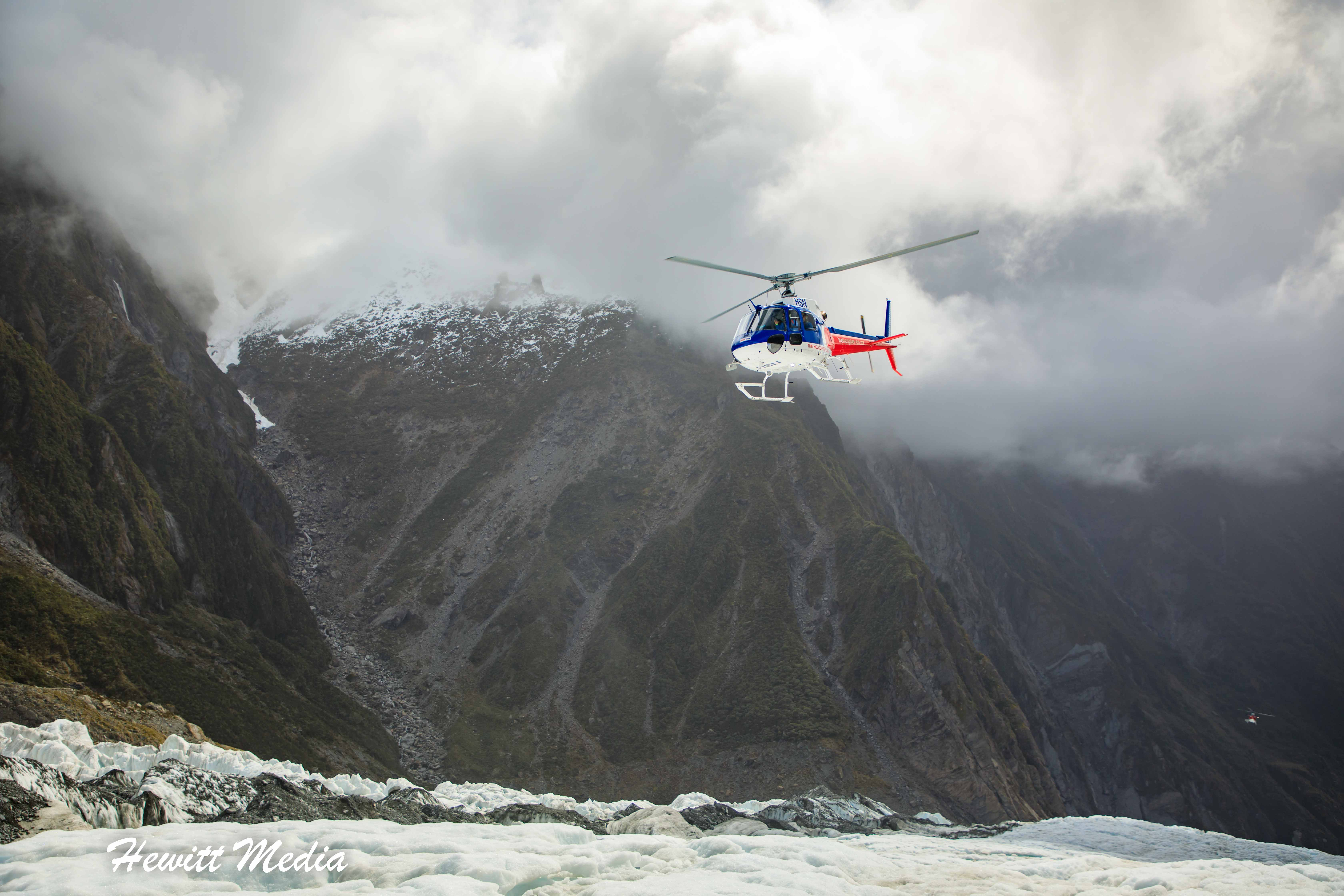 Helicopter approaching Franz Josef Glacier