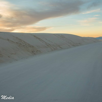 The road into White Sands National Monument