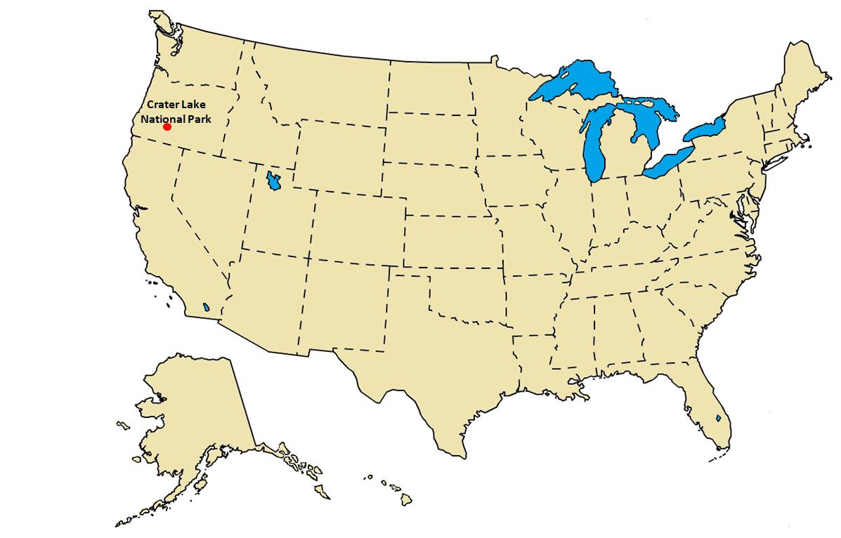 Crater Lake National Park US Map