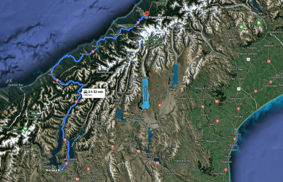 6 - Wanaka to Franz Josef Glacier Driving Map