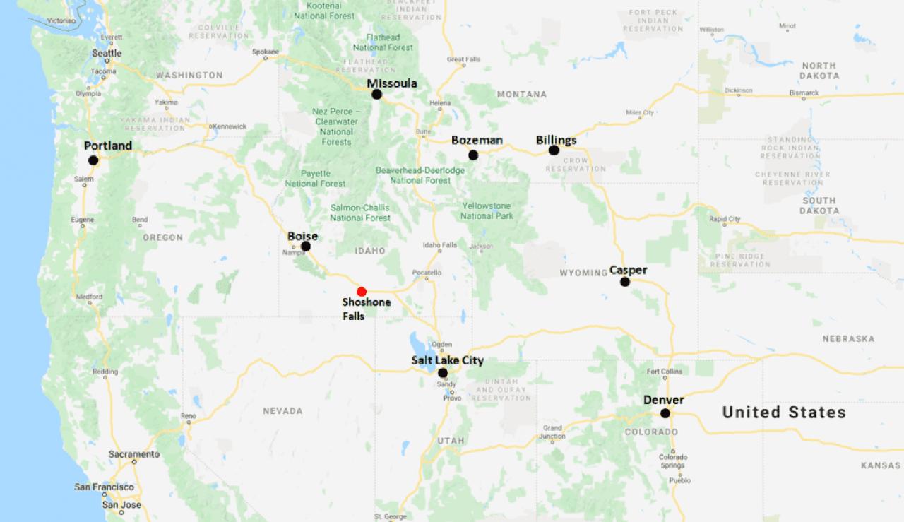 Shoshone Falls Region Map