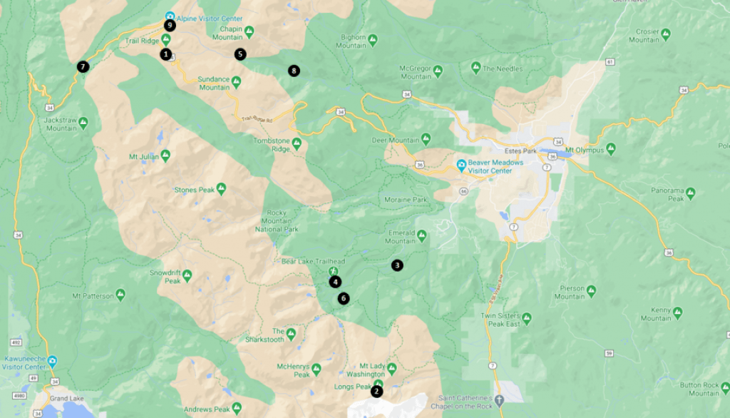 Top Things to See and Do in Rocky Mountain National Park Map