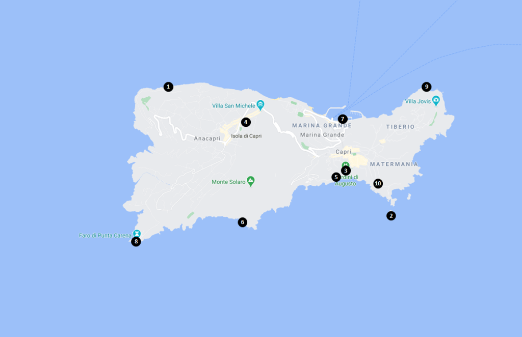 Capri Travel Guide - Top Things to See and Do in Capri Map