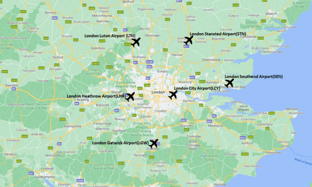 London travel guide - Airports Map