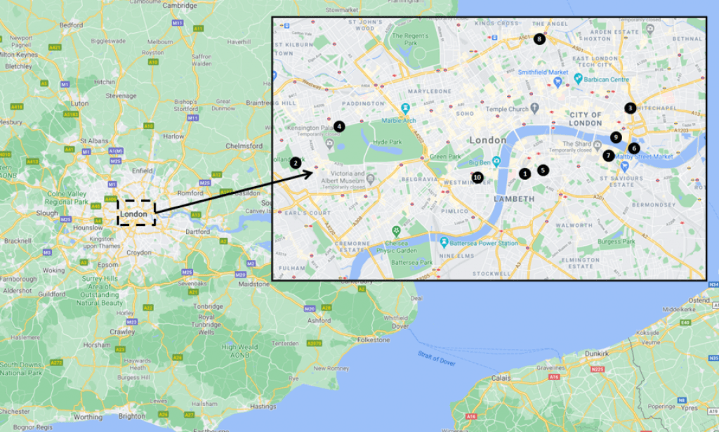 London travel guide - Hotels and Hostels Map