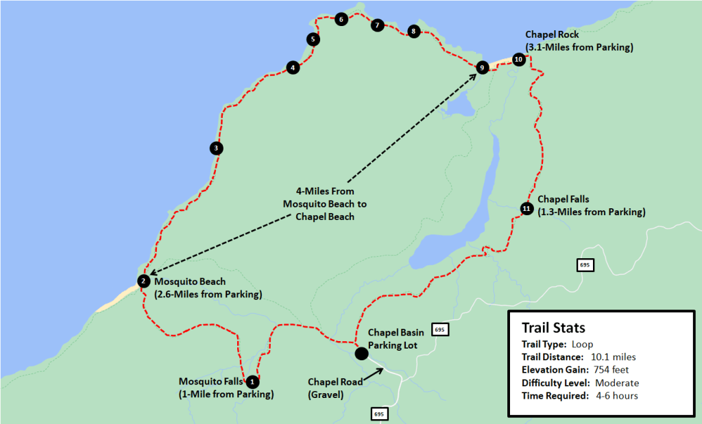 Mosquito Falls and Chapel Falls Loop Hike Map
