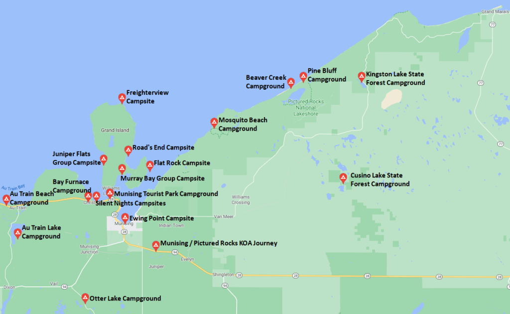 Pictured Rocks Travel Guide - Campgrounds Map