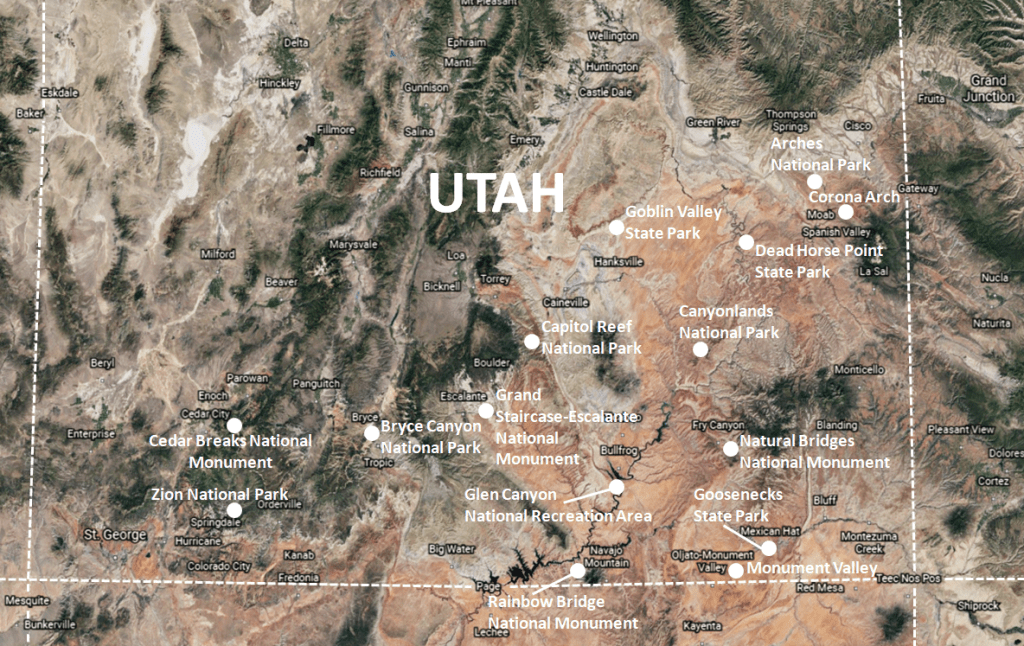 Southern Utah Attractions - Top Things to See in Southern Utah Map