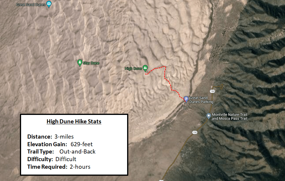 Great Sand Dunes Guide - High Dune Hiking Map