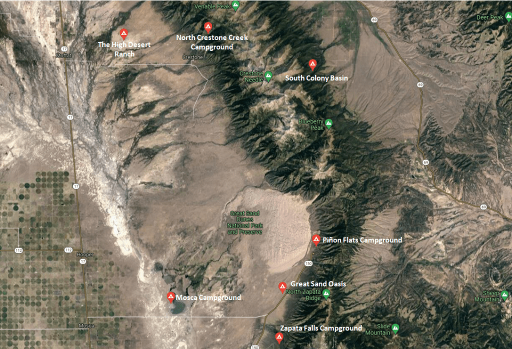 Great Sand Dunes Guide - Campgrounds Map