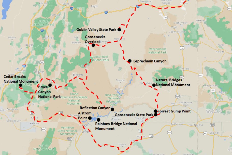 Southern Utah Road Trip Itinerary Map
