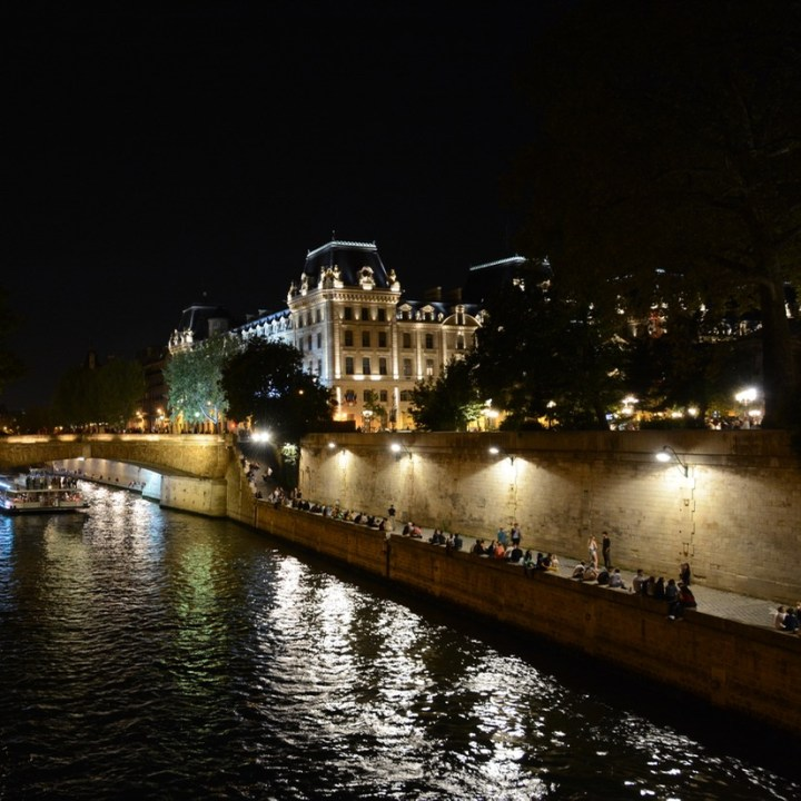 Paris France seine by night