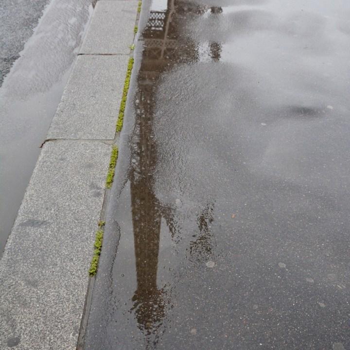 paris france eiffel tower puddle art