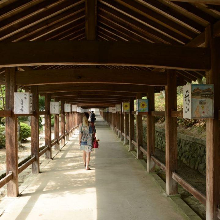 kibi plain cycle ride Kibitsu shrine wooden corridor