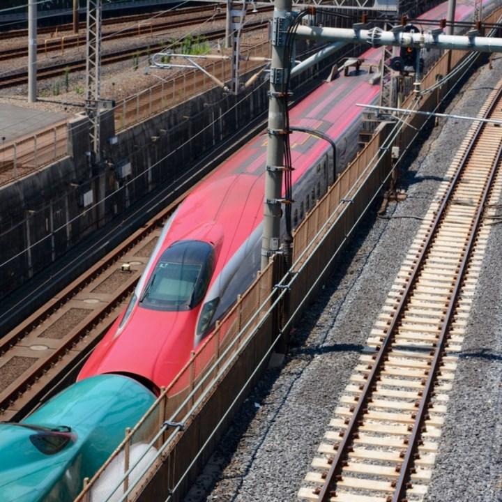 Nishi nippori station shinkansen train spotting double