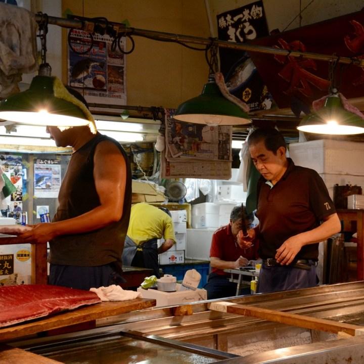 Tsukiji tokyo fish market fish monger knife