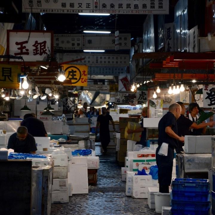 Tsukiji tokyo fish market stalls