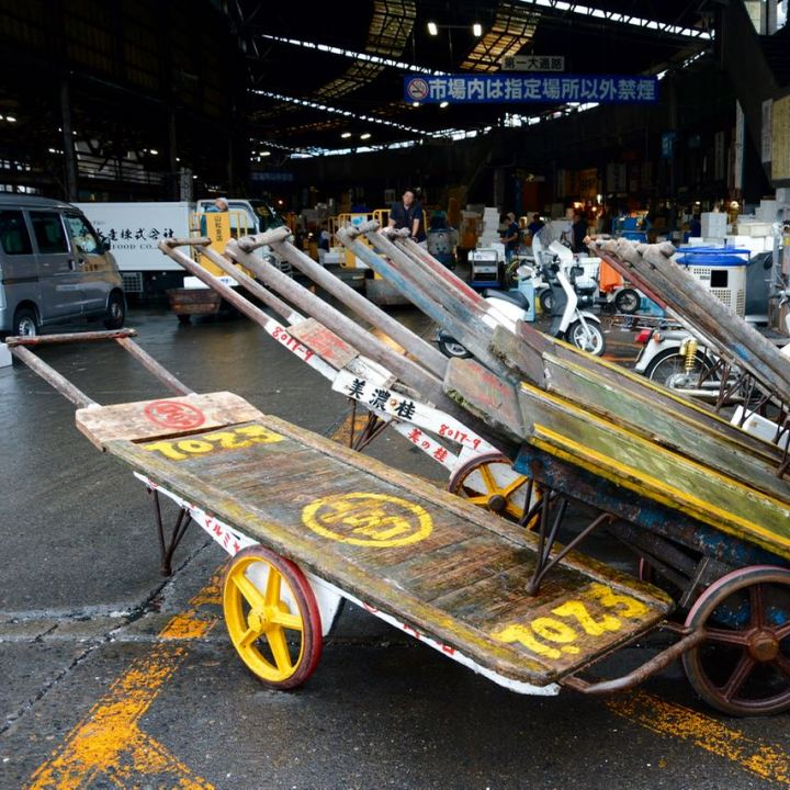 tsukiji tokyo fish market carts