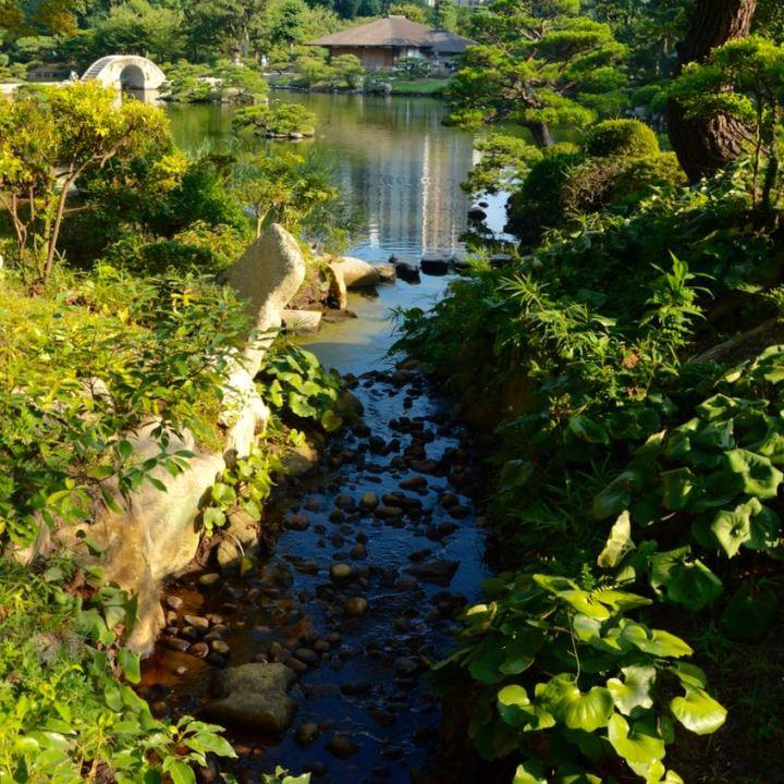 Hiroshima Shukkeien japanese garden lake stream