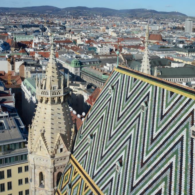Vienna weekend with kids children stephans dom tower view