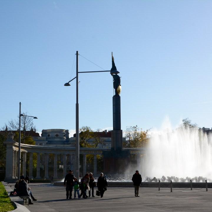 Vienna Wien Austria with children kids fountain