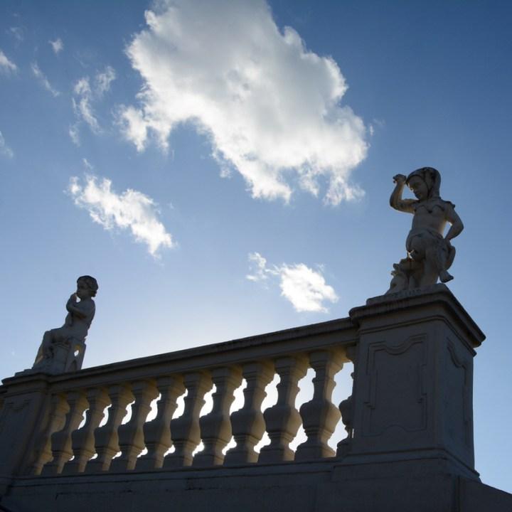 Vienna Wien Austria with children kids palace garden belvedere statues