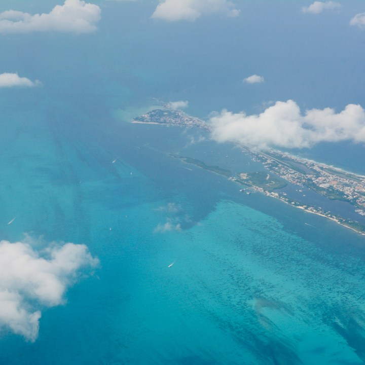 Cancun Mexico airport plane view