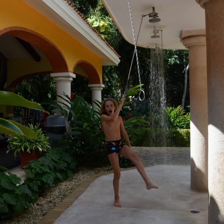 travel with children kids mexico chichen itza ceote ik kil showers