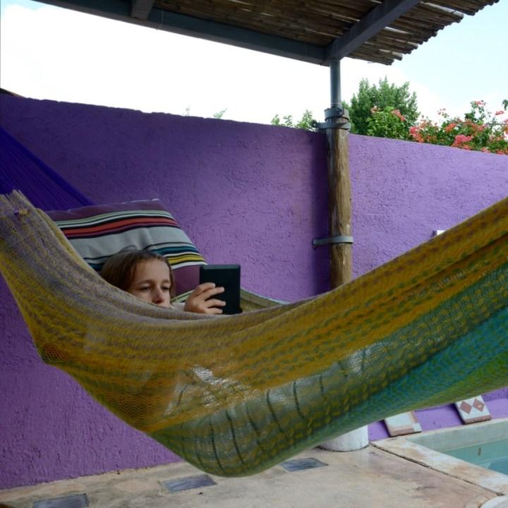 Travel with children kids mexico merida airbnb hammock