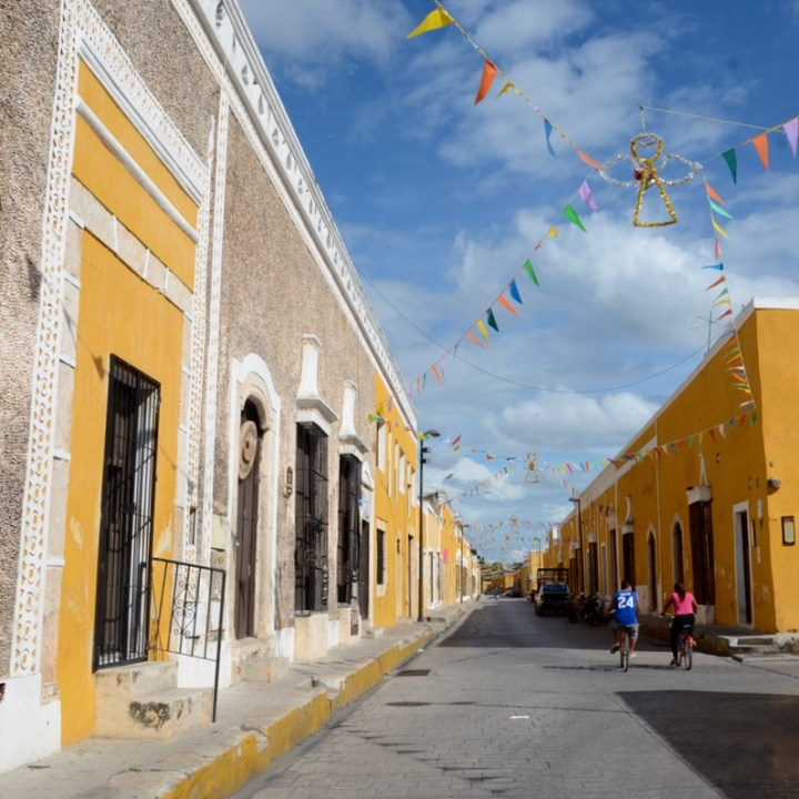 Travel with children kids mexico merida izamal street decoration