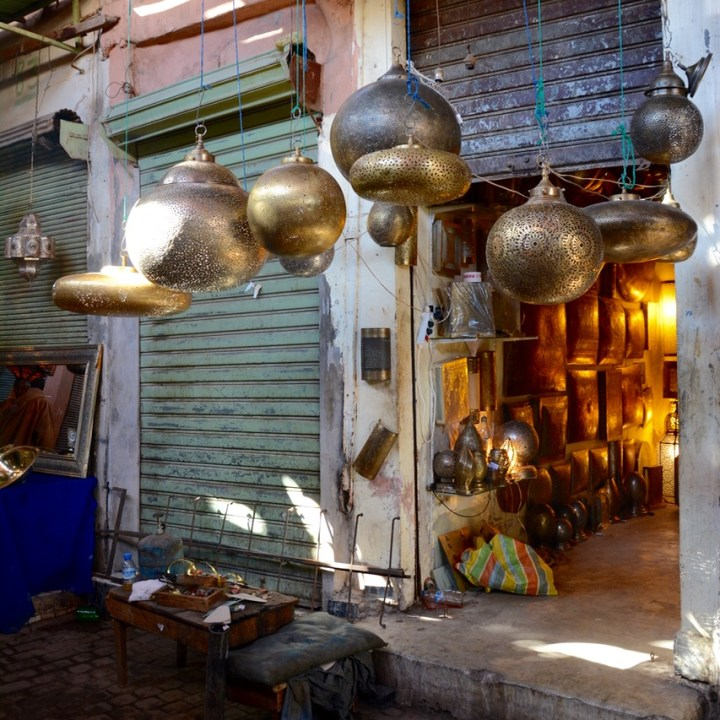 Travel with children kids Marrakesh morocco medina metal lamps