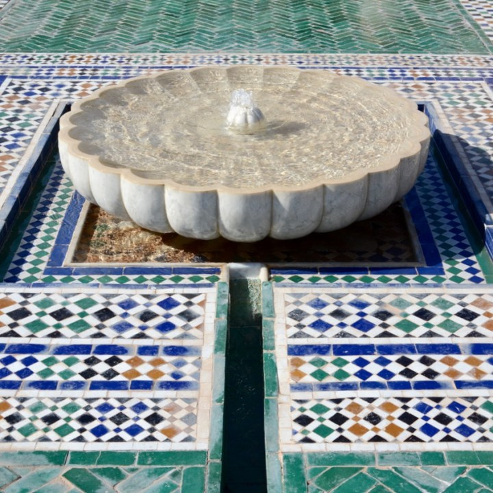 Travel with children kids Marrakesh morocco medina secret garden fountain