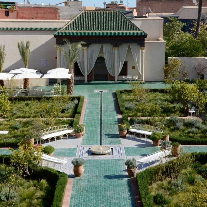 Travel with children kids Marrakesh morocco medina secret garden view