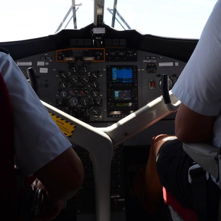 travel with children kids maldives lux south ari atoll seaplane cockpit
