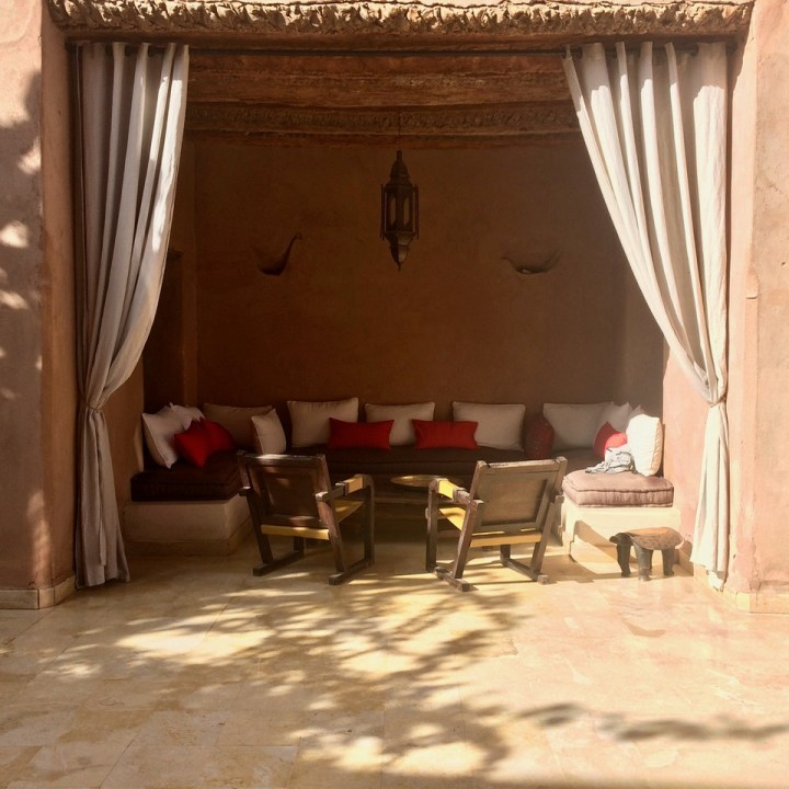 travel with kids children morocco marrakech hotel caravanserai seating area