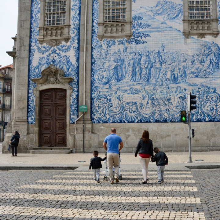 travel with kids children porto portugal azulejos cargo church