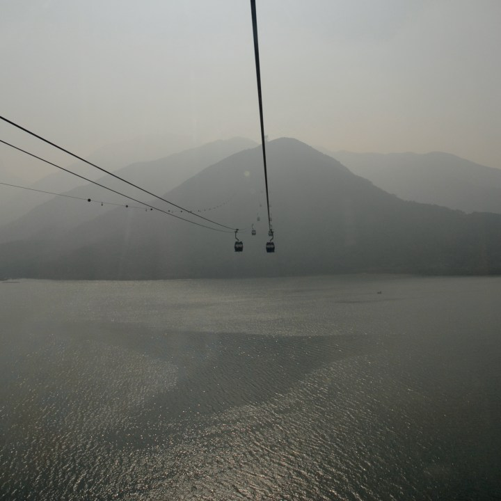 travel with kids children hong kong lantau big buddha cable car bay