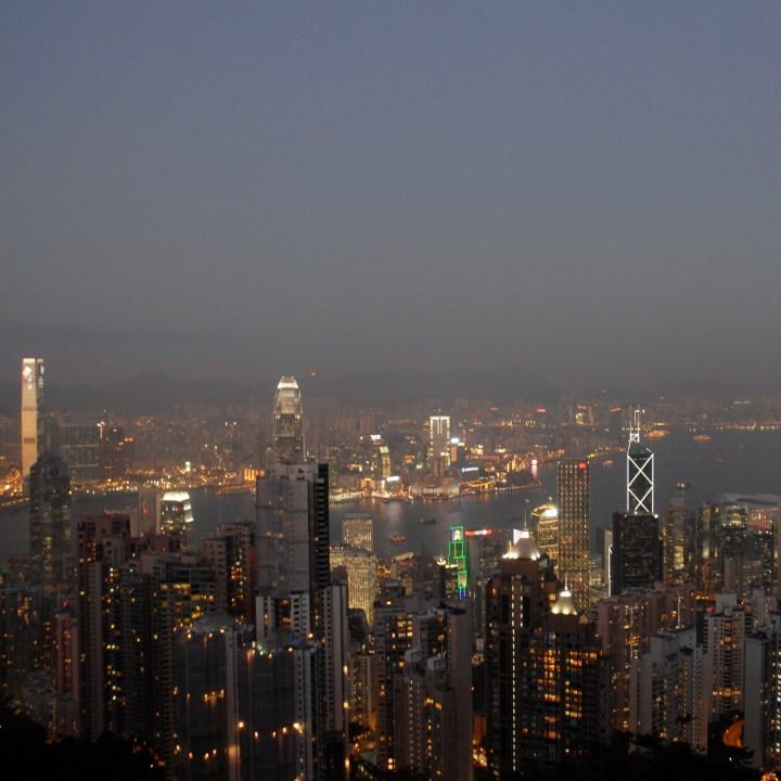 travel with kids children hong kong the peak night view
